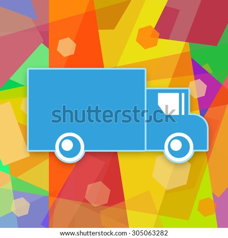 Delivery truck on a colorful background - stock photo