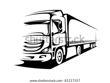 Delivery truck on silhouette style for transportation design. Vector version also available in gallery - stock photo