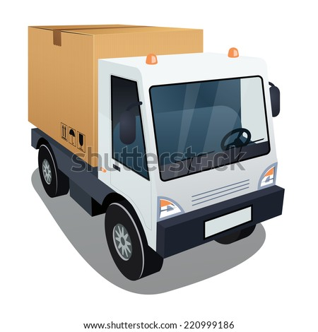 Delivery truck with a big box on white background