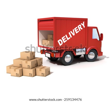 delivery van loaded with cardboard boxes - stock photo