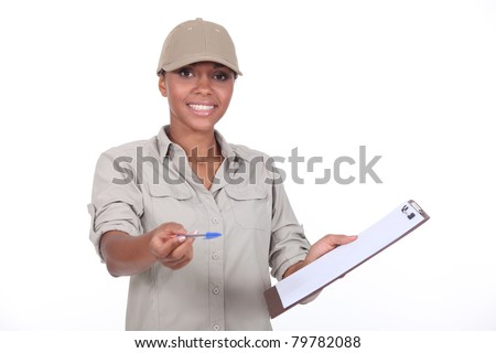 Delivery woman - stock photo