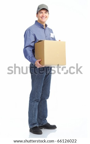 Delivery worker. Handsome worker with a box. Isolated over white background - stock photo