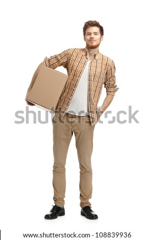 Deliveryman keeps the parcel, isolated, white background - stock photo