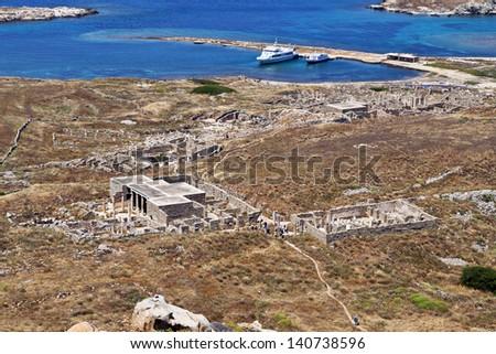 Delos island at the aegean sea in Greece - stock photo