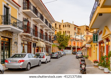 DELPHI, GREECE -APR 22, 2016: Hotel at the small town near the Delphi Archaeological Site. This town is the best way to spend night before visiting Archaeological Park.