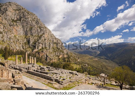 Delphi with Temple in Greece - stock photo