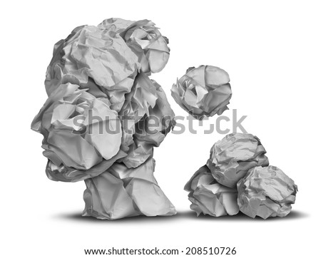 Dementia loss and work stress concept as a group of crumpled office papers falling down shaped as a human head as a symbol for brain problem medical and health care intelligence icon. - stock photo