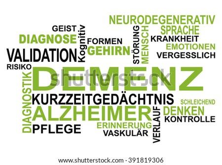 Dementia - word cloud in german language - stock photo