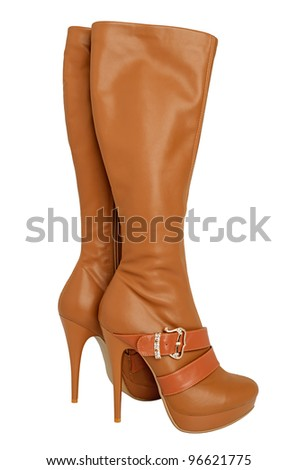 Demi-season women's shoes isolated on a white background - stock photo