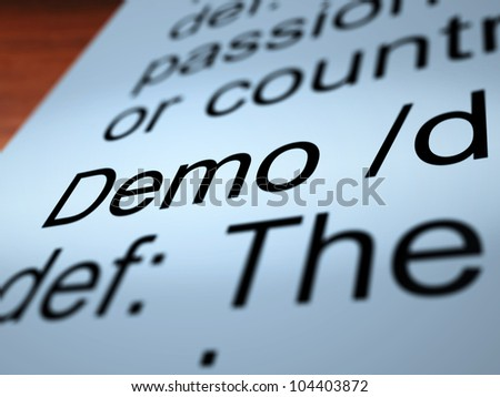 Demo Definition Closeup Shows Demonstration Of Software Application Or Product - stock photo