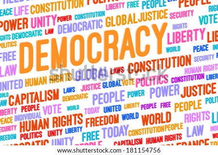 Democracy Word Cloud 3D Concept Illustration - stock photo