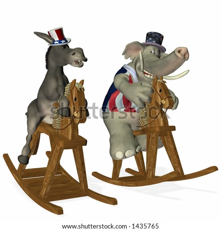 Democrat and Republican horse race. Republican leads by a nose. Political humor. - stock photo