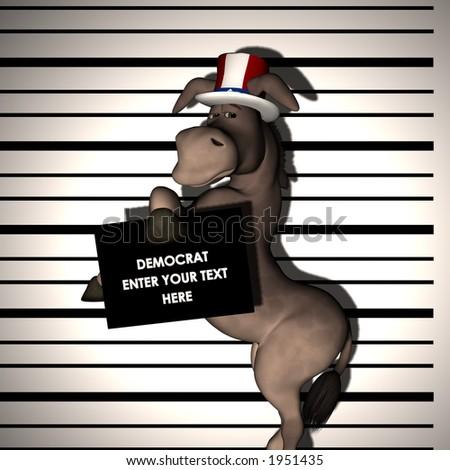 Democrat - Arrested, having his picture taken.  Profile. Political Humor - stock photo