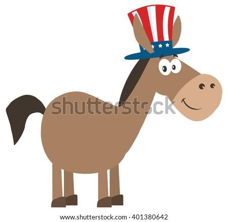 Democrat Donkey Cartoon Character With Uncle Sam Hat. Raster Illustration Flat Design Style Isolated On White - stock photo
