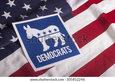 Democrat election on textured American flag - stock photo