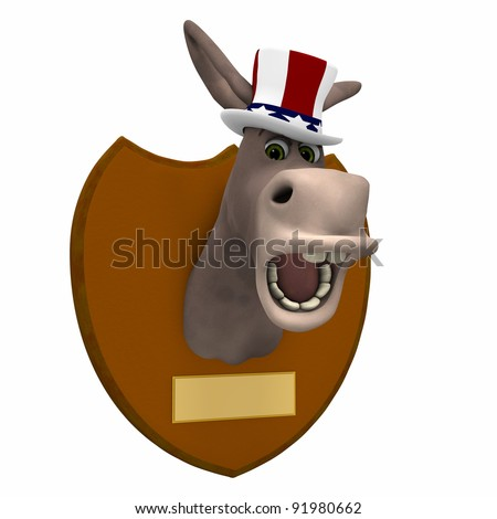 Democrat Mounted. Donkey head mounted on a plaque. Blank brass plates for your text. Political humor. - stock photo