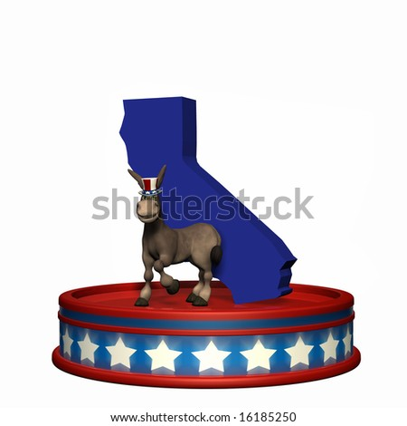Democrat Platform - California DNC Political Donkey standing on a red, white, and blue platform in front of a 3D California. Isolated on a white background. - stock photo