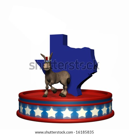 Democrat Platform - Texas DNC Political Donkey standing on a red, white, and blue platform in front of a 3D Texas. Isolated on a white background. - stock photo