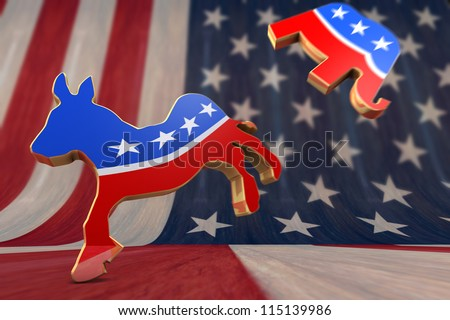 Democrat Symbol Kicks Republican Symbol