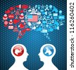 Democratic and  Republican social networks political rally. USA elections discussion: two men facing heads with icons speech bubbles. - stock vector