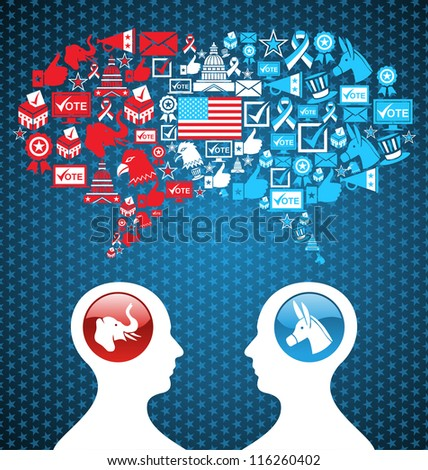 Democratic and  Republican social networks political rally. USA elections discussion: two men facing heads with icons speech bubbles. - stock photo