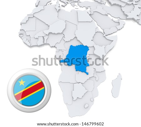 Democratic republic of Congo with national flag - stock photo