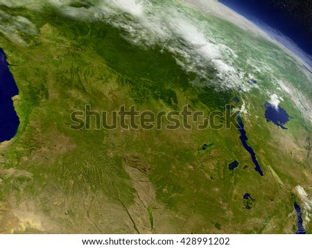 Democratic Republic of Congo with surrounding region as seen from Earth's orbit in space. 3D illustration with detailed planet surface and clouds. Elements of this image furnished by NASA. - stock photo