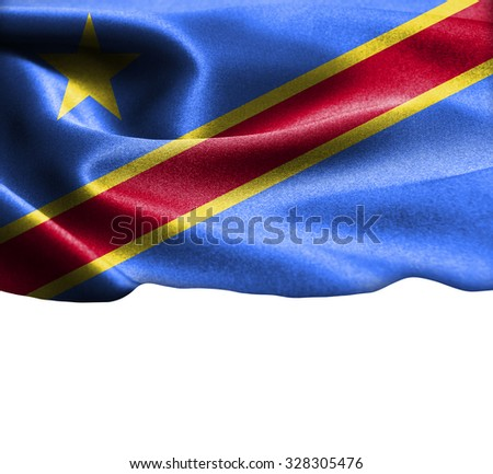 Democratic Republic of the Congo flag on smooth silk texture Space for Text - stock photo