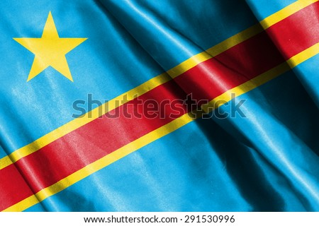 Democratic Republic of the Congo flag on soft and smooth silk texture - stock photo
