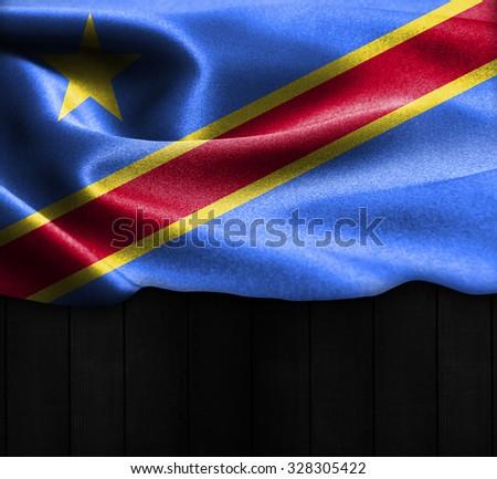 Democratic Republic of the Congo flag on wood Texture - stock photo