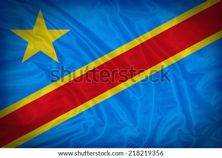 Democratic Republic of the Congo flag pattern on the fabric texture ,vintage style - stock photo