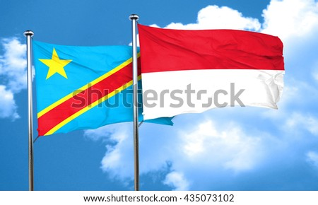 Democratic republic of the congo flag with Indonesia flag, 3D re