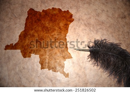 democratic republic of the congo map on vintage paper with old pen - stock photo