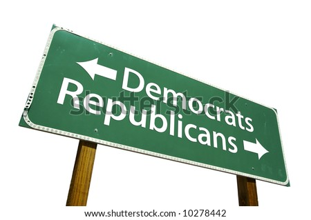 Democrats, Republicans road sign isolated on white. - stock photo