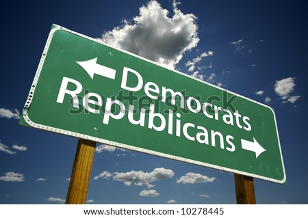 Democrats, Republicans Road Sign with dramatic blue sky and clouds. - stock photo