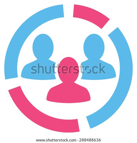 Demography diagram icon from Business Bicolor Set. Glyph style: bicolor flat symbol, pink and blue colors, rounded angles, white background. - stock photo