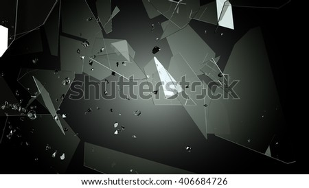 Demolished and Shattered glass over black. Large resolution - stock photo