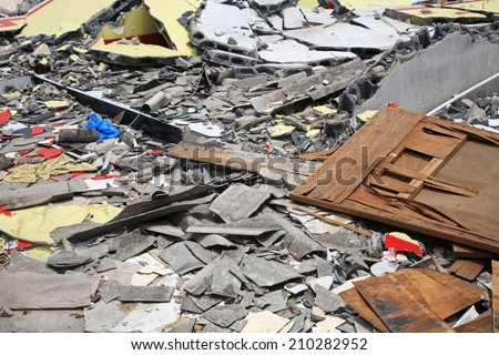 Demolished house objects before reconstruction - stock photo