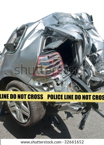 Demolished rear end of car in close-up after an accident, square frame - stock photo
