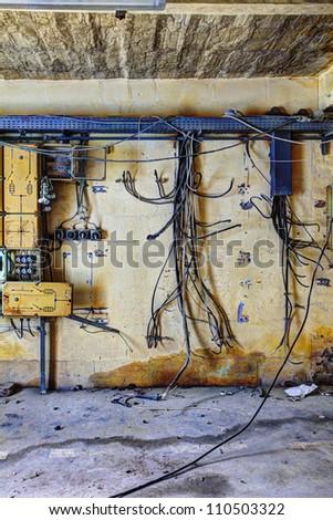 demolished switchboard - stock photo