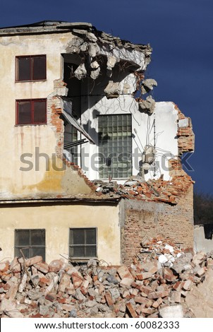 demolition in detail -  cross-section of the building - stock photo