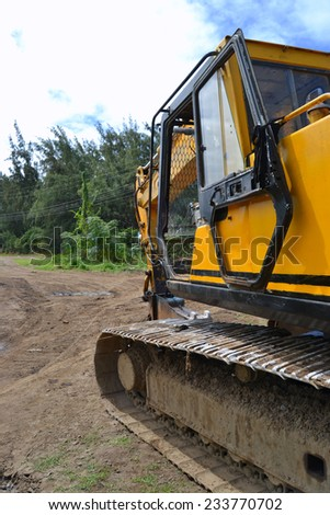 demolition machine stand by on site - stock photo