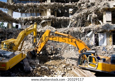 Demolition of an office block - stock photo