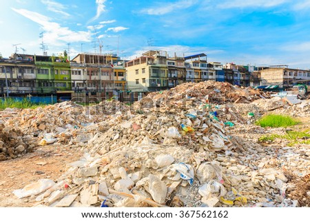Demolition of buildings destroyed - stock photo