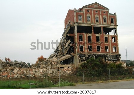 Demolition of old, allegedly haunted, hospital - stock photo