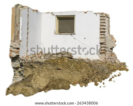 demolition of old and isolated house - stock photo