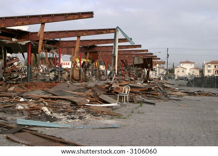 demolition of 1950's Drive In Diner Johnies Broiler - stock photo