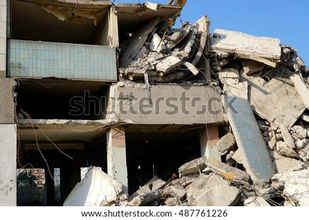 Demolition of the residential building blauer Bock in the city of Magdeburg, Germany