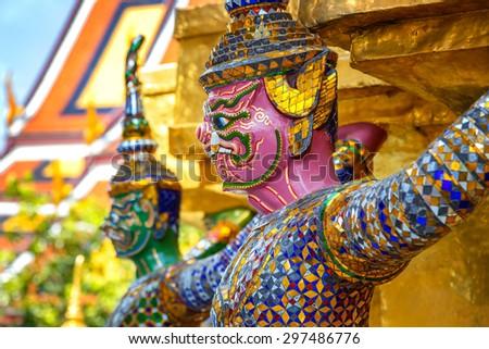 Demon Guardian at Wat Phra Kaew - the Temple of Emerald Buddha in Bangkok, Thailand                                                - stock photo