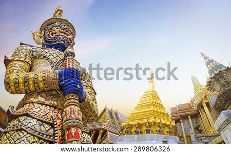 Demon Guardian Wat Phra Kaew Grand Palace Bangkok - stock photo